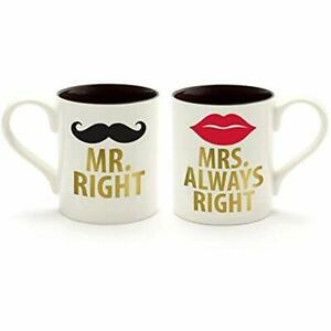 Our Name Is Mud Mr. And Mrs. Stoneware Coffee Mug Set Gold Word Kitchen amp