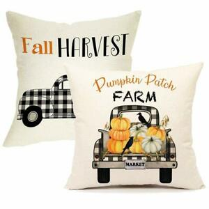 Songtec Decorative Fall Pillow Covers 18x18 Inches, Farmhouse , Pumpkin Set of 2