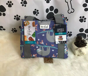 Sloth 🦥 Insulated Lunch Tote W/Sandwich & Snack Containers By Fit&Fresh NWT 🏷
