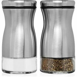 CHEFVANTAGE Salt and Pepper Shakers Set with Adjustable Pour Holes - Stainless