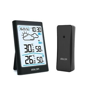 BALDR B0341 Indoor Outdoor Thermometer-Hygrometer LCD Weather Station Forecast