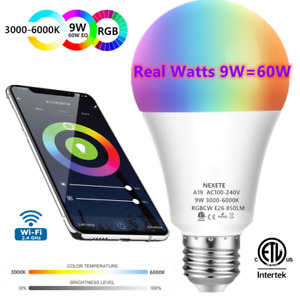 Wifi Smart LED light Bulb 9W 60W A19 850LM RGBW Dimmable for Alexa Google Siri