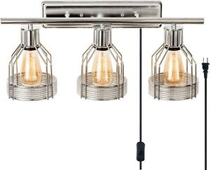 Bathroom Vanity Light Fixture Modern Sconce Chrome Wall Contemporary Plug In New $95.95