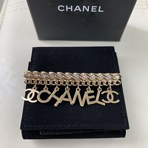 Authentic CHANEL Letters CC Crystal Logo Gold Tone Dangle Brooch Pin BOX POUCH $795.00