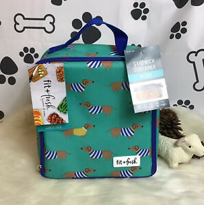 Adorable dachshund 🐶🐾 insulated lunch tote W/Sandwich Container By Fit