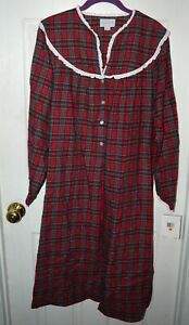 LANZ OF SALZBURG Red Plaid SMALL MID LENGTH FLANNEL NIGHTGOWN NWT $49.99