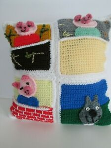 Three Little Pigs PILLOW New handcrafted USA 15 x15 inches,