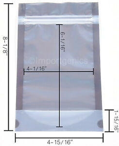 100 White Clear Mylar Dispensary Bags Resealable Zipper Seal OUNCE