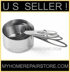 US SELLER! FREE S&H! —STAINLESS STEEL—MEASURING CUPS—4 PIECE SET— BRANDLESS INC.