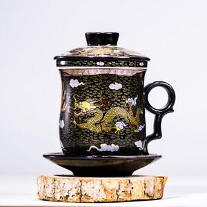 NEW Black Dragon Ceramic Porcelain Tea Cups Coffee Mugs with Infuser