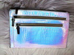 FRENCH CONNNECTION Iridescent Holographic Holo Clutch Alligator Print Purse