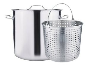 100QT Large Outdoor Stainless Steel Seafood Stock Pot w Basket Crawfish Boil Pot $120.99