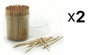 Norpro Ornate Wood Toothpicks 360 Pack Appetizer Skewers & Holder (2-Pack)