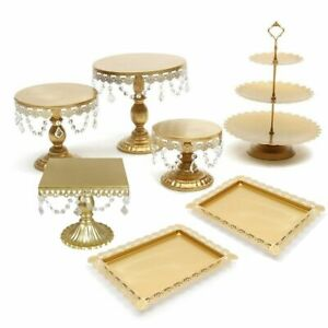 Classical Wedding Cake Stand Set Crystal Cupcake Holder Dessert Metal Plate
