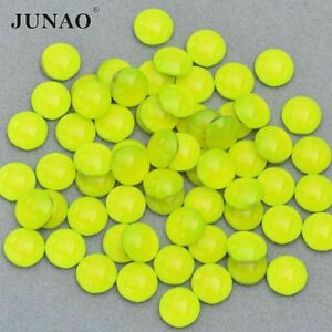 Neon Yellow Round Crystal Rhinestone Applique Flat Back Nail Crystal Non Sewing