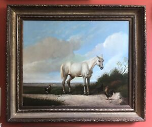 Antique Oil Painting On Canvas Signed WHITE HORSE LANDSCAPE Framed 38 X 32 $1,999.99