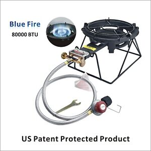 Outdoor Propane Burner Stove Camping Gas Stove Heavy Duty Cast Iron Stove w Rack
