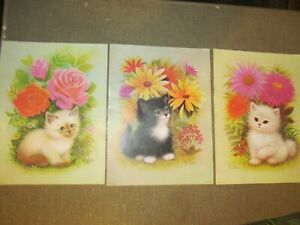 VINTAGE LITHOGRAPHS BY K. CHIN BEAUTIFUL COLORS KITTENS $12.99