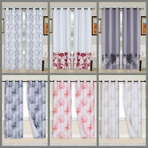 2PC Printed Blackout Window Curtains Bedroom Living Room White Lined Fabric
