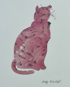 ANDY WARHOL PINK SAM  SIGNED CAT LITHOGRAPH MATTED   $169.00