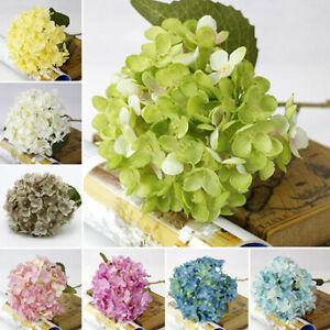Artificial Silk Flower Hydrangea Leaves Bouquet Stages Wedding Party Home Decor