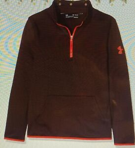 Under Armour Boys Armour Fleece 1 2 Zip Dark Maroon Radio Red Youth Large $9.99