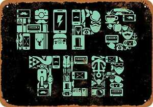 10x14 Metal Sign - Hipster Made of Device Icons (BLACK) - Rusty Look