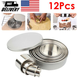 Round Cookie Biscuit Cutter Set 12 Pcs Pastry Stainless Steel Metal Molds $10.52