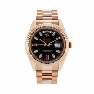 Rolex Day-Date II Black Dial President 18k Rose Gold Men's Watch 41MM 218235