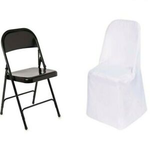 100 Folding Flat CHAIR COVER Wedding Party Wedding Decorations White Polyester