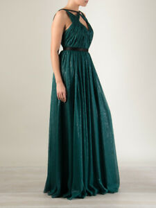 Jason Wu Designer Evening Silk Lame Cut Out Gown GORGEOUS Green SIZE xsmall XS