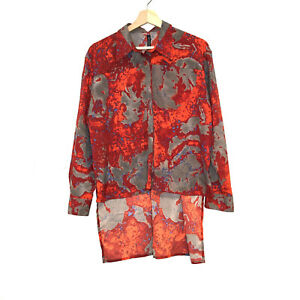 w118 Walter Baker red grey splash splatter abstract hi low button front top S