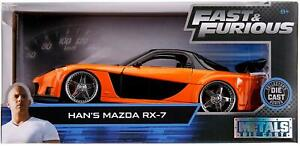 Fast & Furious Han's Mazda RX 7 Orange Jada 1:24 30732 Diecast Model Car Movie