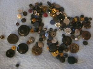 VINTAGE MILITARY GLASS METAL SHOE SUNFLOWER ASSORTED SEWING CRAFT BUTTON LOT $6.99