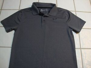 Under Armour Golf Polo Shirt Gray Short Sleeve Loose Boys Youth Size Large YLG $15.99