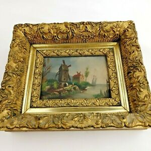 Small Antique Painting on Wood Original Frame Signed By Artist Windmill amp; Boat $174.95
