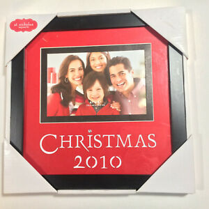 MERRY CHRISTMAS 2010 FRAME PICTURE 4 x 6 Photo RED BLACK Rhinestone HOLIDAY Rare