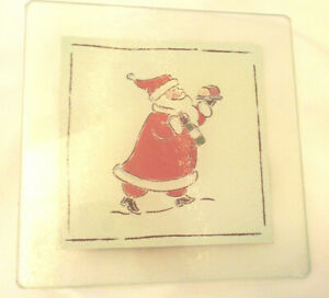 Christmas Glass Trivet Cheese Tray NEW amp; SEALED Santa Bottom Cork amp; Plastic Feet