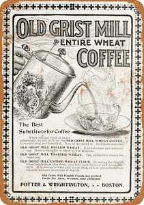 10x14 Metal Sign - 1902 Grist Mill Wheat Coffee - Rusty Look