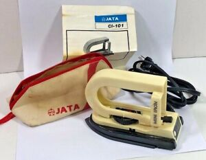 Vintage JATA World Travel Iron Mini with Dual Voltage, Case and Instruction Book