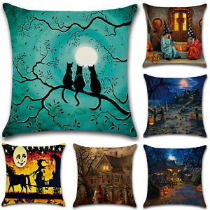 Halloween Cotton Linen Pillow Case Waist Throw Cushion Cover Home Sofa Decor 18'