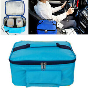 Mini Hot Food Bento Tote Drive Picnic Camping Electric Oven Heating Bag Blue