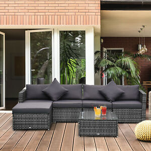 Outsunny 6 Piece Outdoor Patio Rattan Wicker Furniture Sofa Set w Cushions Grey $479.99
