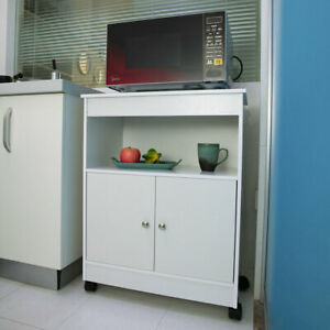 Microwave Cart Storage Large Open Shelf Cabinet Rolling Wood Home Kitchen White