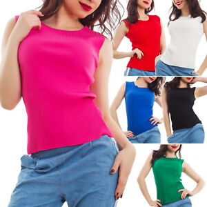 Womens Top Tank Top under Jackets Crew Neck Basic Tight Folds New AS 0801 $19.38