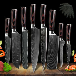 Kitchen Chef#x27;s Knife Set Stainless Steel Damascus Pattern Sharp Cleaver Gift