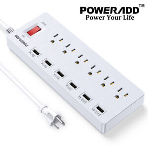 Power Strip Surge Protector 6 Outlets 6 USB Charging Ports & 6Ft Extension Cord