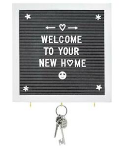 Grey Felt Letter Board with Key Hooks - 10