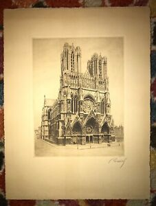 Original Antique Etching of Cathedral de Rives Notre Dame France Signed Reidel
