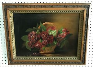 ANTIQUE 1889 VICTORIAN BASKET RED ROSES FLORAL STILL LIFE OIL PAINTING SGND TODD